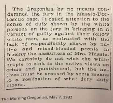 Court exhibit: a newspaper clipping from The Morning Oregonian dated May 7, 1932, discusses a jury with the author claiming that Native and 'mixed-blood' peoples showed a lack of responsibility in a recent verdict