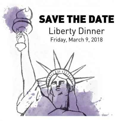 Illustration of Statue of Liberty. Liberty Dinner, Friday, March 9, 2018