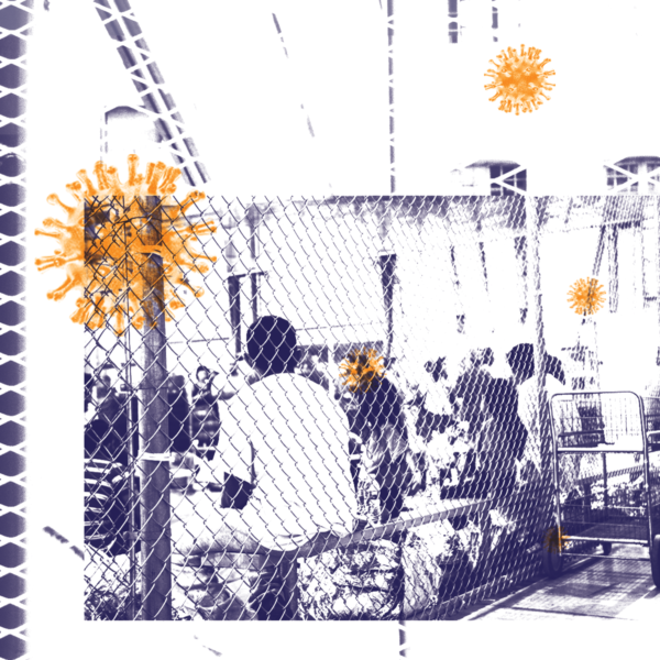 stylized image of people behind a fence in detention